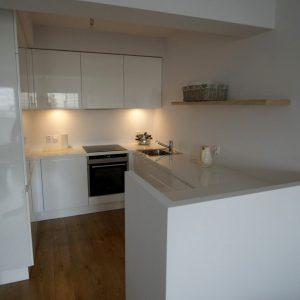 Dažyti, blizgūs virtuvės baldai